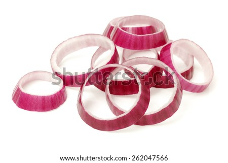 Sliced red onion rings on white background - stock photo