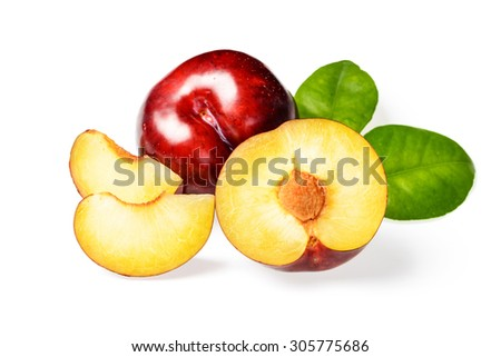sliced red plum on white