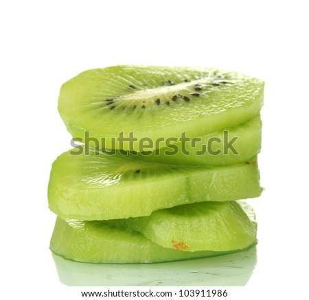 sliced ??ripe kiwi isolated on white - stock photo