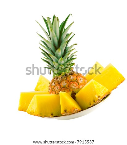 sliced ripe pineapple isolated on white background - stock photo