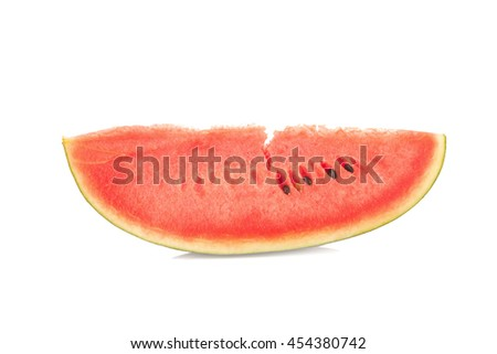 Sliced ripe watermelon isolated on white background. - stock photo