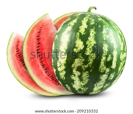 Sliced ripe watermelon isolated on white background. Clipping Path - stock photo