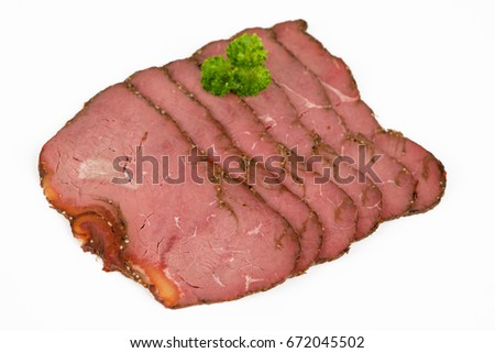 Sliced roast beef with white background