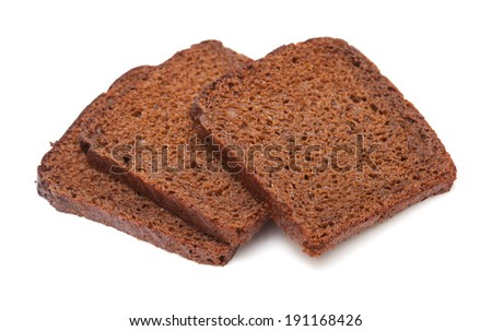 sliced rye bread isolated on white background - stock photo