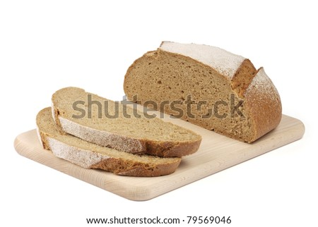 sliced rye bread on the board isolated on white