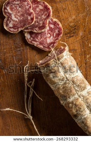 Sliced salame from Basilicata, Italy - stock photo