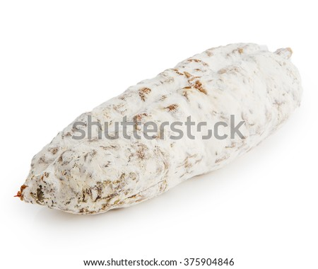 sliced salami on a white background