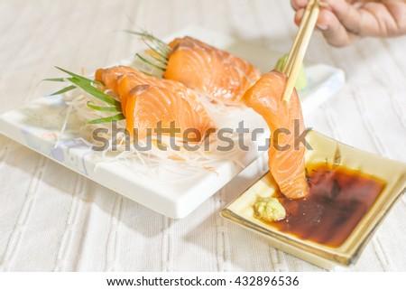 Sliced salmon sashimi  sushi delicious Japanese food menu, - stock photo