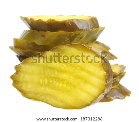 sliced salty pickle stack isolated on white  - stock photo