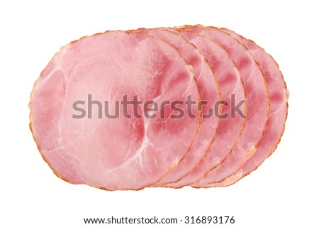 Sliced smoked ham isolated on white background
