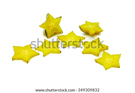 Sliced Star Fruit Carambola (Averrhoa Carambola) star shaped tropical fruit with crispy and juicy pulp