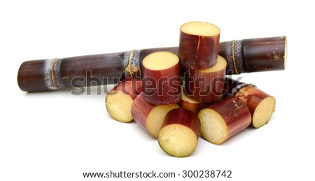 Sliced Sugar cane isolated on white background