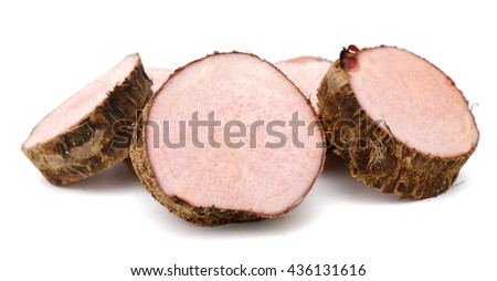 Sliced taro isolated on the white background