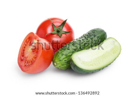 sliced tomato and cucumber, isolated on white