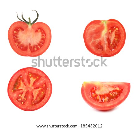 Sliced tomatoes. Isolated on a white background. - stock photo