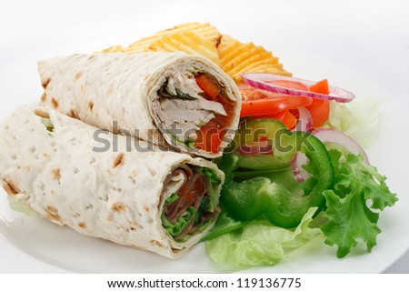 sliced tortilla wraps a roll up of flat bread with various fillings