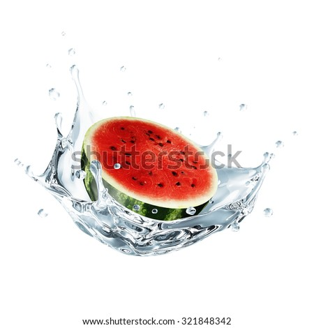 Sliced Watermelon Falling into Water Splash isolated on white background - stock photo