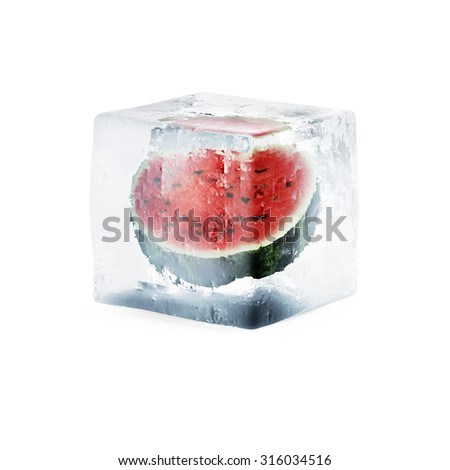 Sliced Watermelon in Ice Cube isolated on white background - stock photo