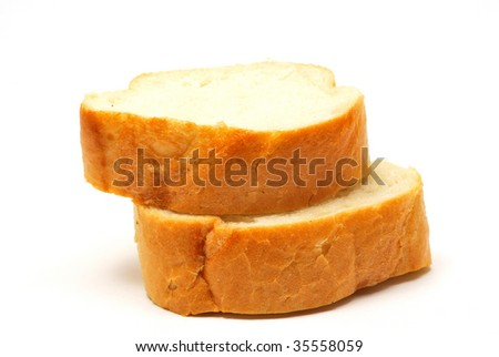 Sliced wheat baguette isolated on white background - stock photo