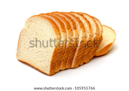 Sliced Wheat Bread on white background - stock photo