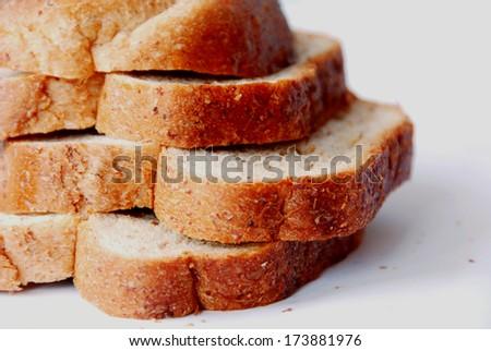 Sliced whole wheat bread. - stock photo