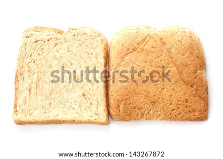 Sliced whole wheat bread  on white background