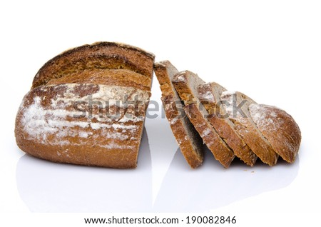 Sliced wholemeal bread, isolated on white