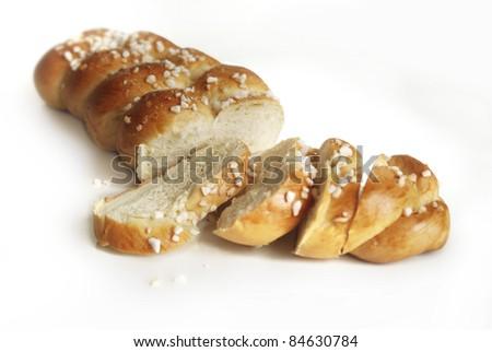 Sliced yeast cake - stock photo