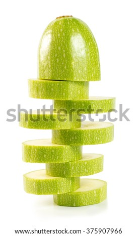 Sliced zucchini (vegetable marrow) isolated on a white background - stock photo