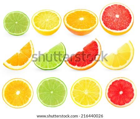 Slices citrus on white background  - stock photo