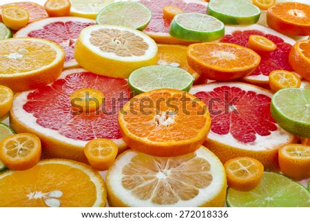 slices citrus top view  surface close up - stock photo