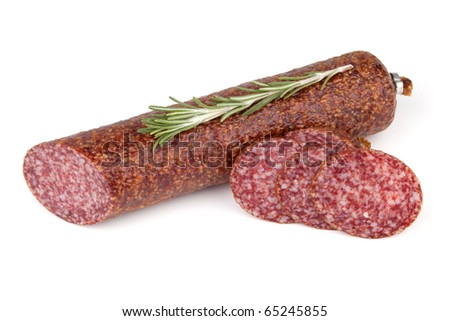 Slices italian salami sausage with rosemary. Isolated on white background - stock photo