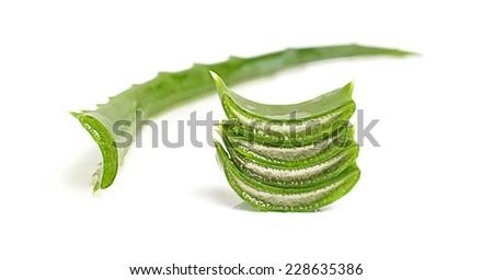 Slices of aloe vera leaf - stock photo