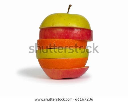 Slices of apples and orange as one fruit. Isolated with clipping path.