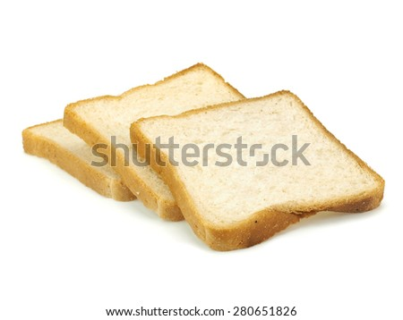 Slices of bread for toasting on a white background