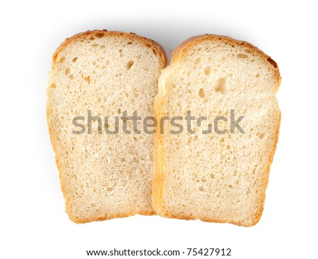 Slices of bread isolated on a white background