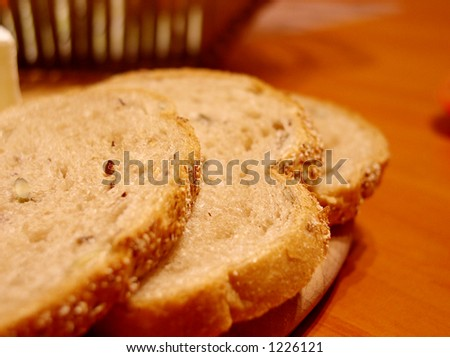 Slices of bread on the table