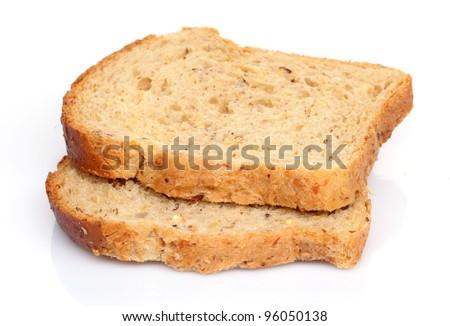 Slices of bread on white - stock photo