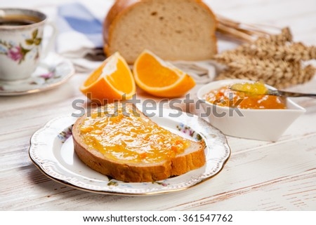 Slices of bread with jam - stock photo