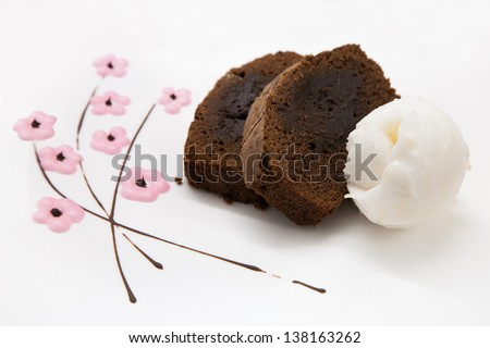 slices of cake and ice cream on white background