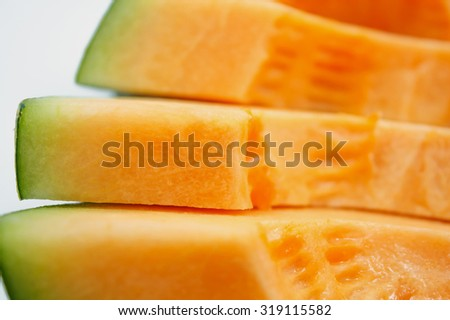 slices of cantaloupe melon closeup