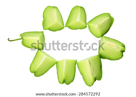 Slices of Chayote on White Background - stock photo