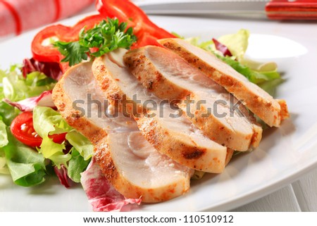 Slices of chicken breast fillet with green salad  - stock photo