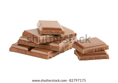 Slices of chocolate on white background