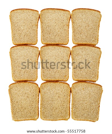Slices of dark bread isolated over white - stock photo