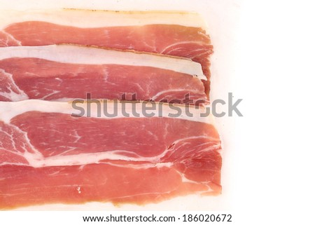 Slices of Delicious Prosciutto. Close up. Whole background.
