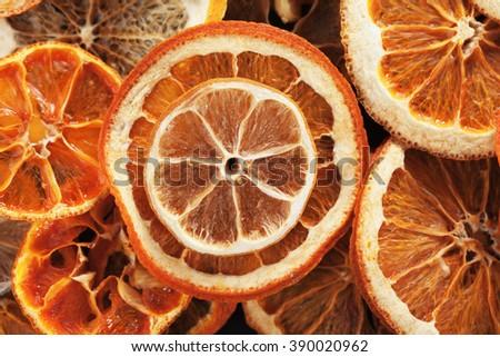Slices of dried lemon, orange, lime, grapefruit and tangerine fruit  - stock photo