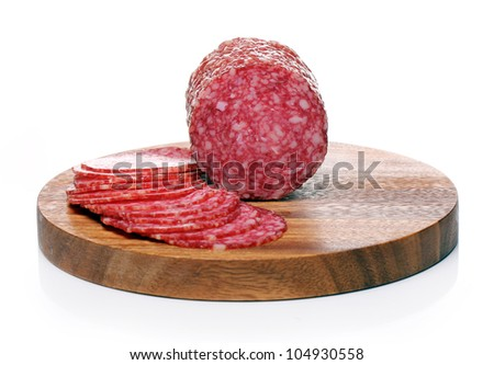 Slices of fresh and delicious salami over white background