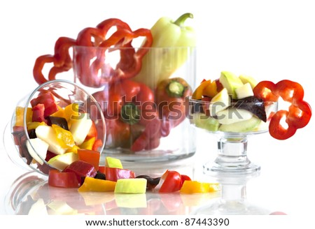 slices of fresh pepper and zucchini - stock photo