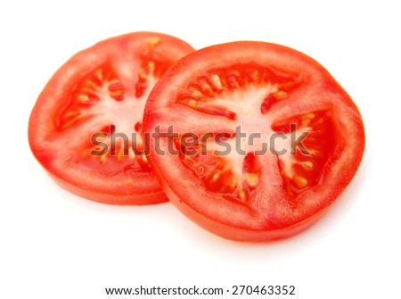 Slices of fresh tomato, isolated on white - stock photo